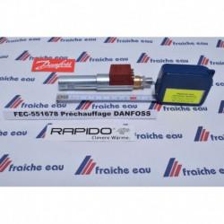 le préchauffage DANFOSS  assure la bonne température de pulvérisation  pour obtenir une combustion parfaite dans le foyer