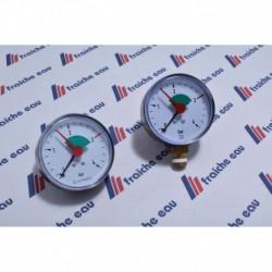 """manomètre pour chauffage avec indication de limite réglable  1/4"""" 4 Bars"""