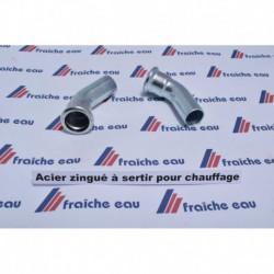 coude acier à sertir  zingué 45° MF ø15 mm