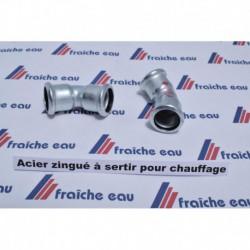 installation de chauffage , coude à 45° F/F  à sertir diamètre 28 mm  en acier au carbone zingué
