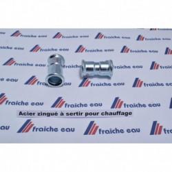 manchon SAHNA - MANESMANN court  à sertir avec arrêt 15 mm F/F pour l'accouplement de 2 tubes acier zingué