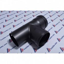 TE de visite en acier noir 80 mm pour poêle à pellets  doit  être placé directement à la sortie du poêle