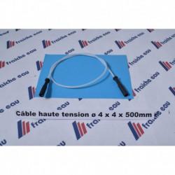 câble d'allumage haute tension en teflon longueur 500 mm avec 2 cosses isolées  de 4 mm  à usage universel