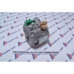 bloc gaz, vanne de régulation gaz ROBERTSHAW série 7000 filetages FF 3/4 , alimentation de bobine 220 volts