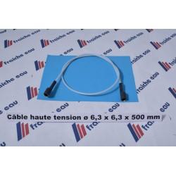 câble pour électrode haute tension teflon 500 mm cosse ø6,3 x6,3