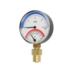 thermomètre et manomètre de pression radial dans un seul boitier, combinaison thermomanomètre