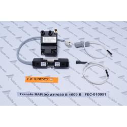transfo de séparation RAPIDO 010951 avec câblage pour chaudière gaz AT 7030 pour l'alimentation du relais gaz HONEYWELL