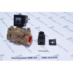 electro vanne GSR 3/4 fonctionne en tout où rien pour gaz neutre, air , eau, bobine NC 220 volts interchangeable