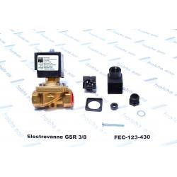 electrovanne GSR 3/8 normalement fermée , joint NBR , bobine 220 volts, série E 4322 laiton filetage FF