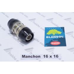 manchon push fit 16 x 16 BANSOL  Ix-PRESS raccordement de 2 tubes pex 16 mm  auto sertissage sans outillage, raccord à clip