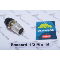 raccord à clipser BLANSOL 1/2 M x pex 16x 2 mm , accouplement multiskin, connection tube alupex, multipex PEX AL PEX