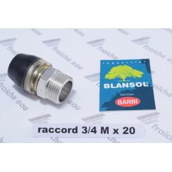 raccord 3/4 M BLANSOL pex 20 x 2 mm par auto sertissage, raccord à clipser x press pour multiskin, alupex, pressfit