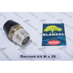 raccord à clipser BLANSOL brevet BARBI 4/4 mâle x tube pex 26 x3 mm pour multiskin,  pex al pex, italpex blanc