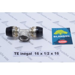 TE express 16x1/2 x pex16 mm  BLANSOL BARBI  pour tube multicouche type ALUPEX, connexion ultra rapide par auto sertissage