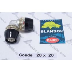 coude à 90°  BLANSOL X PRESS pour tube pex 20 x 2 mm, le raccord à glisser se bloque automatiquement sans machine à sertir