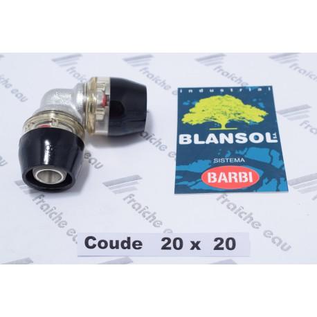 coude à 90°  BLANSOL X PRESS pour tube pex 20x 2 mm, le raccord se bloque automatiquement sans machine à sertir