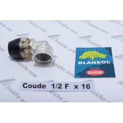 coude 1/2 F pour raccorder le tube alpex 16 x 2 mm BLANSOL connexion à gisser, serrage et étanchéité  automatique