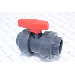 vanne a bille à coller PVC U avec raccords 2 pièces diamètre 50 mm FF pour circuit d'eau de piscine  et jardin aquatique