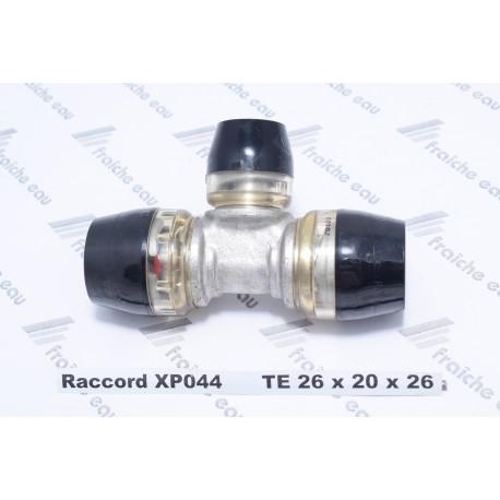 connexion en TE BLANSOL pour pex 26-20-26, raccord à auto sertissage par glissement pusch fit brevet BARBI x press