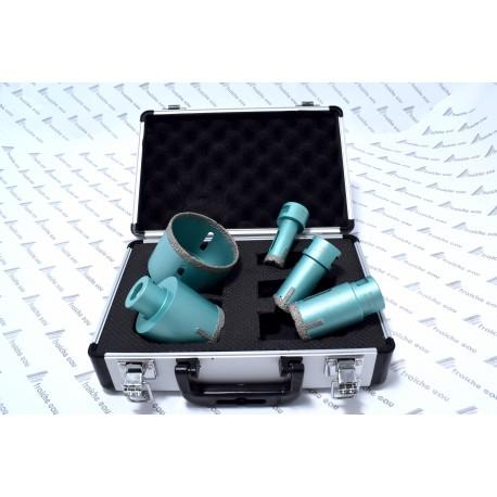 trepans , scie cloche au diamant coffret de 5 mèches diamètre 20 - 27 - 35 - 55 - 72 mm utilisation sur disqueuse à sec
