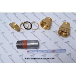 raccord coulissant lisse 40 mm , filetage 4/4, connexion de rattrapage télescopique, raccord à glisser