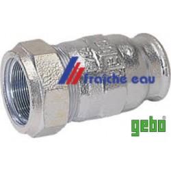 raccord à compression GEBO 8/4 F X diamètre 62 mm sur un tube en acier sans devoir faire un filetage