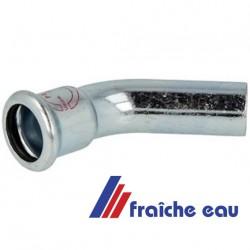 coude en acier carbone à sertir , zingué à 45° M/F ø 22 mm pour le domaine du chauffage
