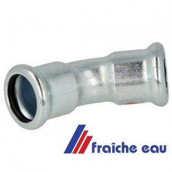coude en acier au carbone MANESMANN à sertir , angle 45° diamètre 15 mm F/F  pour installation de chauffage en apparent