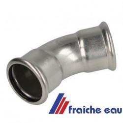 coude en acier carbone zingué à 45° accouplement F/F diamètre 22 mm pour installation de  chauffage