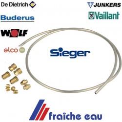 tube de veilleuse diamètre 4 mm universel , aluminium souple avec olives et écrous, pour toutes réparations