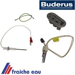 kit d'entretien BUDERUS 7736700560 avec amorce à incandescence, électrode d'ionisation, et capot en aluminium
