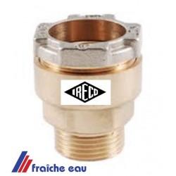 raccord à joint comprimé pour tube PE  diamètre 60 mm filetage 2 pouces