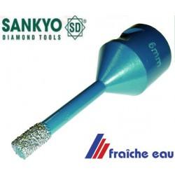 foret , SANKYO  couronne, diamanté 6 mm utilisation a sec sur meuleuse d'angle, mèche , trépan au diamant pour carrelage