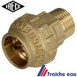 "raccord a compression pour tube synthétique diamètre 21 mm filetage 4/4"" mâle"