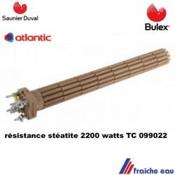 résistance STEATITE boiler ATLANTIC /BULEX ø52 / 2200 watts  TC, résistance de chauffe eau électrique SAUNIER DUVAL