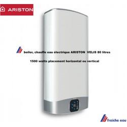 boiler en pose horizontal et vertical , chauffe rapide, ARISTON EVO VELIS 80, cuve en acier émaillé  1500 watts