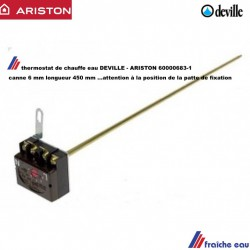thermostat  à canne  diametre 6 mm longueur 450 mm monophasé , attention à la position de la patte de fixation