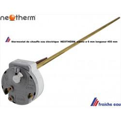 thermostat de boiler NEOTHERM  canne ø 6 long 450, réglade de température enfichable pour chauffe eau
