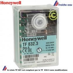 le relais Honeywell TF 832-3 remplace le TF801 sans modification de câblage