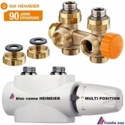 bloc de raccordement , vanne MULTILUX  HEIMEIER complet pour radiateur connexion centrale