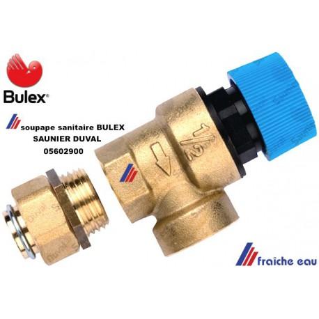 soupape de sécurité sanitaire BULEX 05602900 , proupe de surcharge SAUNIER DUVAL  , décharge de surpression eau potable