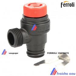 soupape de sécurité chauffage 3 bars FERROLI 39818270, groupe, vanne de sécurité du circuit de chauffage