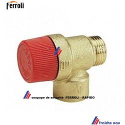 soupape de sécurité chauffage RAPIDO - FERROLI  39812960, filetage 1/2 M x évacuation 3/4 F
