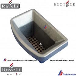 creuset, foyer , pot de combustion ECOTECK RAVELLI , brasier en fonte de poêle RC 1000 , RV120 , RC120, SOFIA