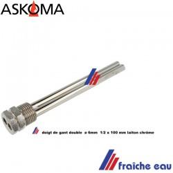 """doigt de gant universel laiton chrôme  double 1/2 """" x 100 mm PN10 , fourreau double pour capteur de température"""