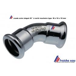 coude à 45° en acier au carbone électro zingué raccordement ø18 mm a joint F/F  pour le sertissage  avec mâchoire type M