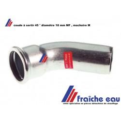 coude MANESMANN en acier carbone , coude 45° M/F  ø18 mm à sertir mâchoire type M