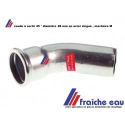 coude en acier au carbone MANESMANN à sertir , angle 45° diamètre 28 mm M/F