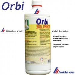 ORBI dissout la pierre urique des urinoirs et canalisations de décharge , pas de livraison , uniquement enlèvement au comptoir