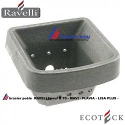 le brasier pour assurer la  combustion du poêle  à granulés RAVELLI ..R70.. FLAVIA.. MAVI..LISA PLUS.. ECOTECK